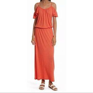 Soft Joie Cold Shoulder Smock Waist Maxi Dress XS